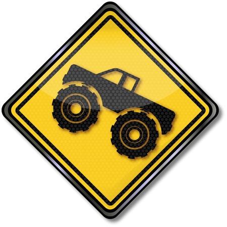 Sign monster truck Illustration