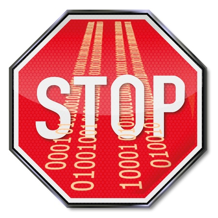 risks button: Sign stop data breaches Illustration
