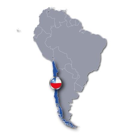 bandera de chile: Mapa de Chile Foto de archivo