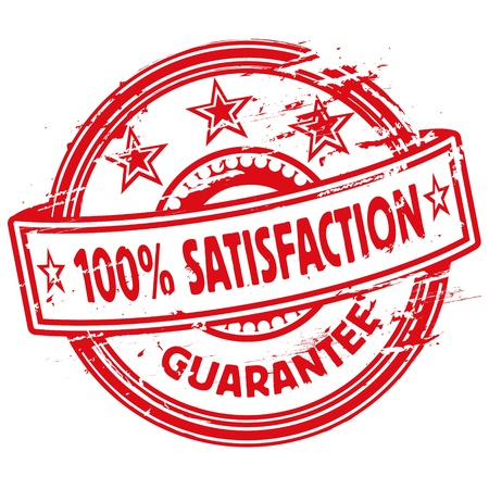 rubber stamp guarantee and 100  satisfaction Vector