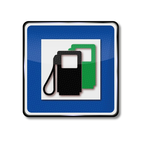 natural gas: Traffic sign gas station Illustration
