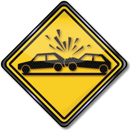 traffic accident: Sign attention collision