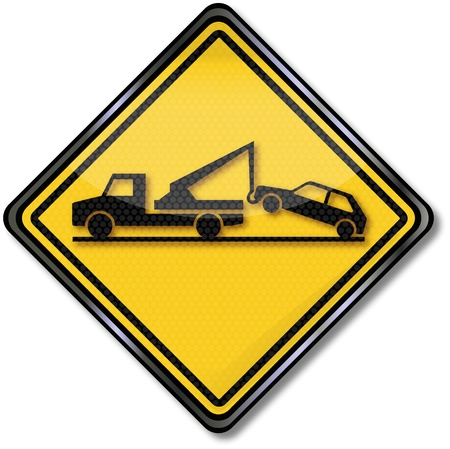Sign tow truck Vector
