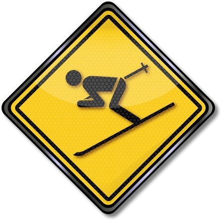 skiing accident: Sign ski and holiday