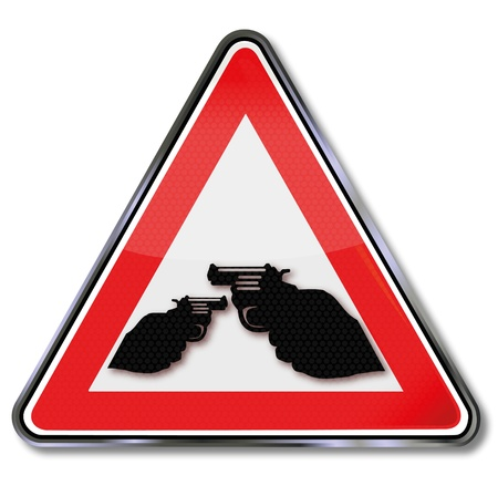 shootout: Sign crime, gun and revolver Illustration