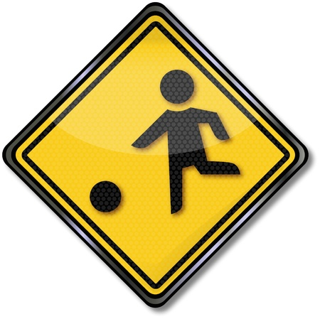 child ball: Traffic Sign Attention playing children