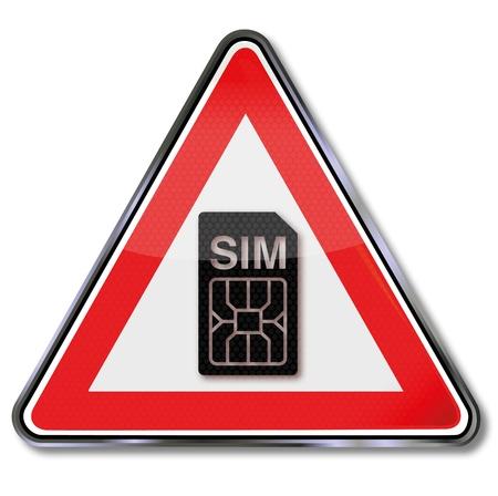 sim card: Sign sim card Illustration