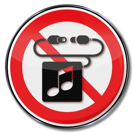 banned: Sign note, music and headphones
