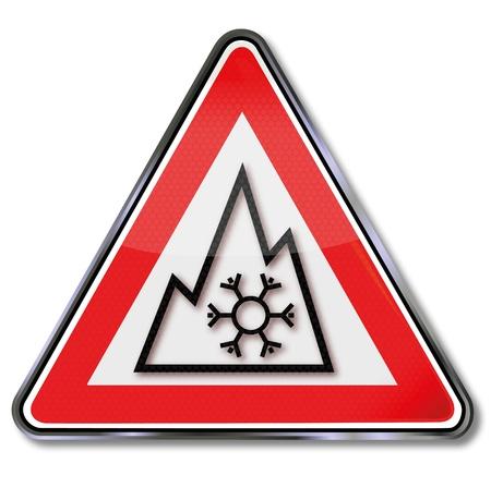 winter tires: Sign Car Winter tires Illustration