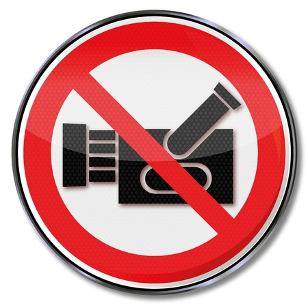 prohibition: Prohibition Sign no film and camcorder