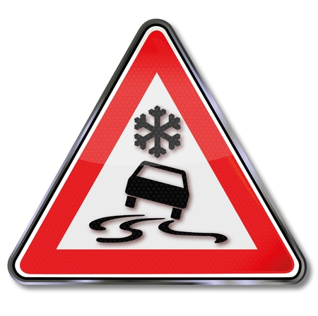 Traffic Sign Snow and skidding Stock Vector - 15993341