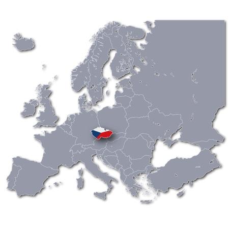 r�publique  tch�que: Carte de l'Europe en R�publique tch�que