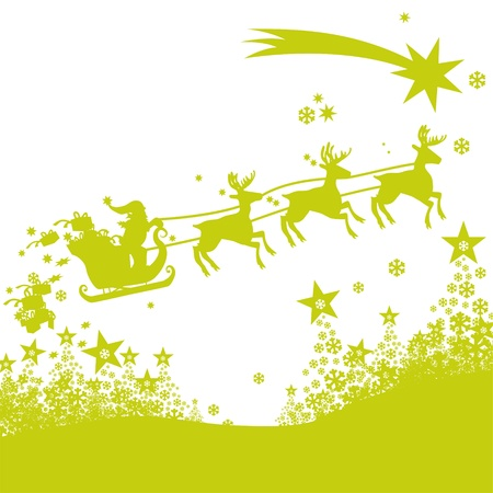 Santa Claus, sleigh and reindeer Stock Vector - 16219477