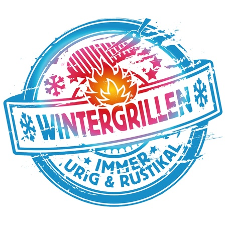 Rubber stamp winter grilling Vector