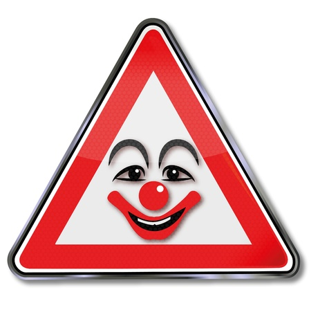 disguised: Sign laughing clown face
