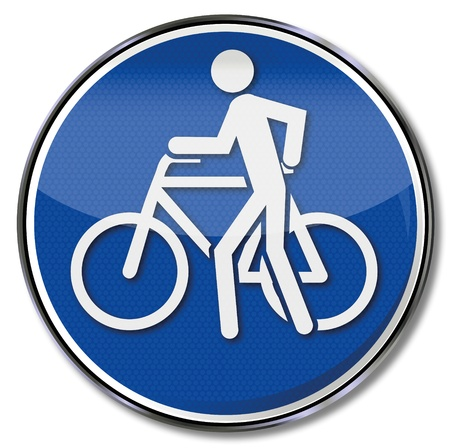 Sign push the bicycle please Stock Vector - 16219475