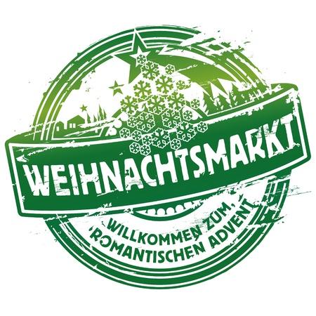 kerst markt: Stempel kerstmarkt Stock Illustratie
