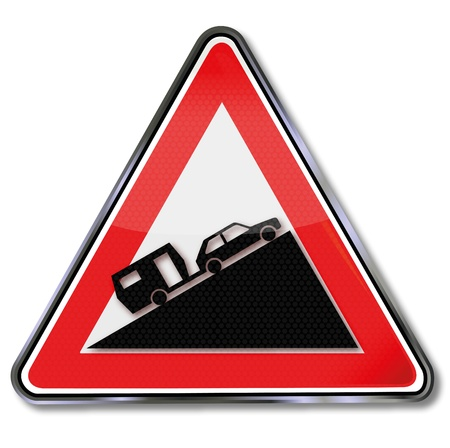 slowness: Traffic Sign mountain slope car and  caravan