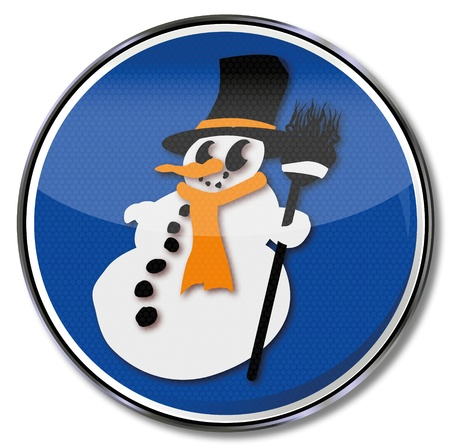 Sign film Snowman and winter time Vector
