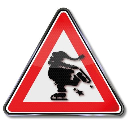 Sign Santa Claus is skating Stock Vector - 16327375