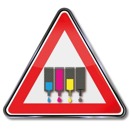 printer cartridge: Sign ink jam Illustration