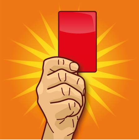 Hand, red card and punishment Vector