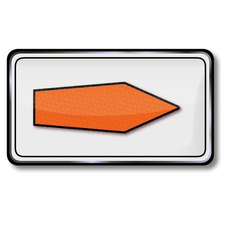 redirection: Traffic Sign detour orange arrow
