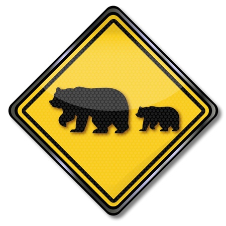 Traffic Sign Family of bears, Stock Vector - 16807065