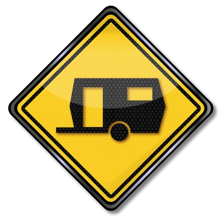 Sign Camping trailer Vector