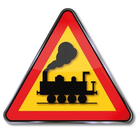 railroad crossing: Traffic Sign Railroad crossing Illustration