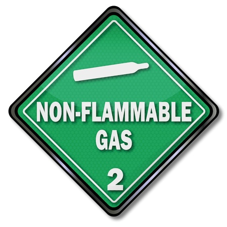 non: Sign non flammable gas