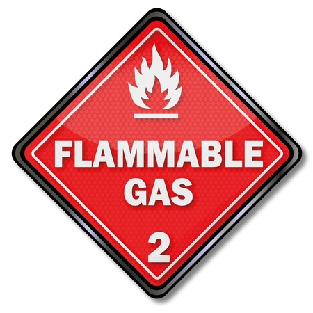 flammable materials: Sign flammable gas