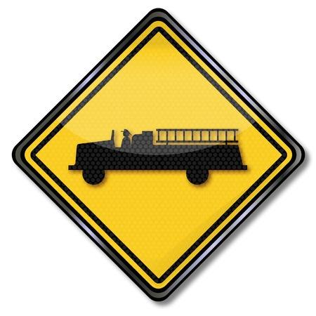 dangerous goods: Sign fire truck