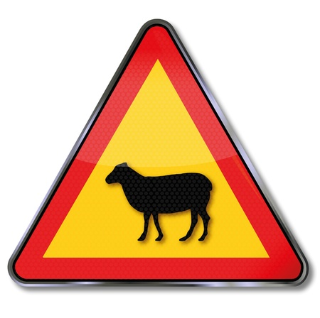 Traffic Sign sheep crossover Stock Vector - 17186599