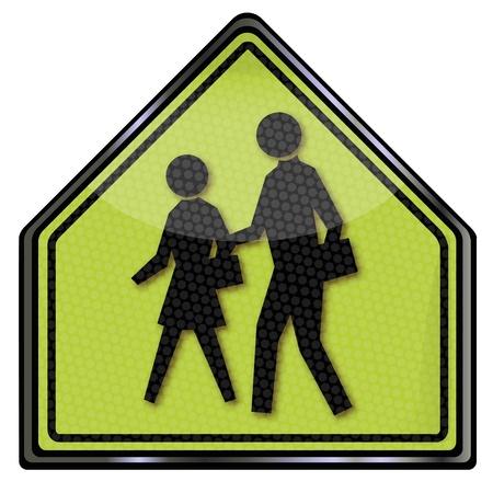 pedestrian crossing: Traffic Sign school, pedestrian and road crossing Illustration