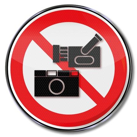 prevencion de accidentes: Se�al de prohibici�n de c�mara de fotos y c�mara de video Vectores