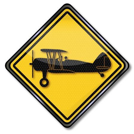 Sign biplane,  Flight hour and Flight school Stock Vector - 17459746