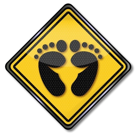 toe: Sign footprint Illustration