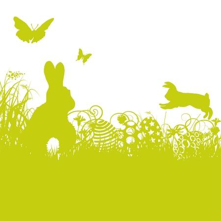 Conejo de Pascua y huevos de Pascua