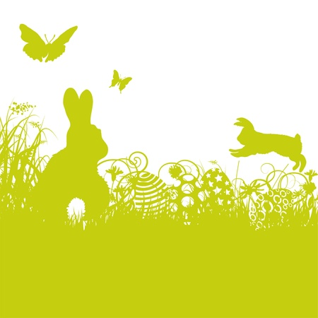 cute rabbit: Easter bunny and easter eggs Illustration