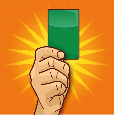 Hand green card and ecology