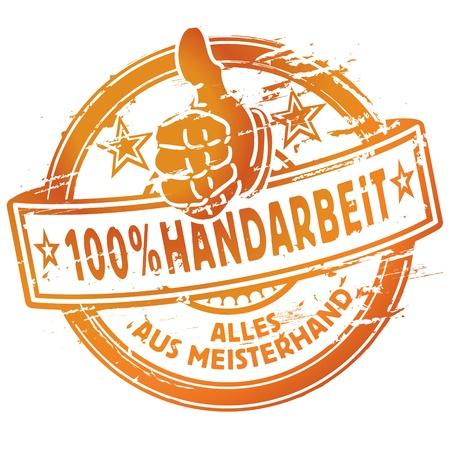 Rubber stamp 100 percent handwork Ilustração