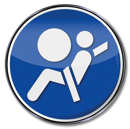 cinturon seguridad: Regístrate airbag y cinturón de seguridad Vectores