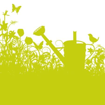 Watering can, garden and bird