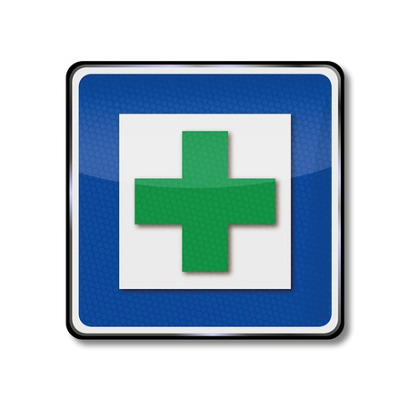 hospital sign: Sign green cross