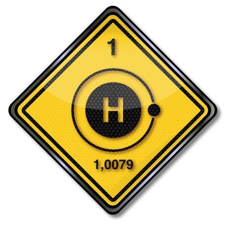 wasserstoff: Registrieren Chemie und Wasserstoff Illustration
