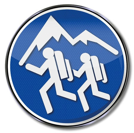 Sign hiking and backpacker Vector