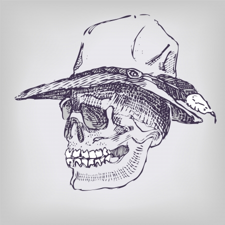 mixed media: Drawing skull with hat