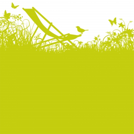 Deckchair and bird ind the garden Illustration