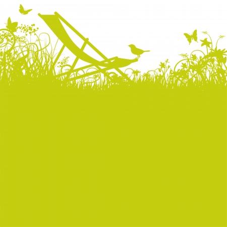 Deckchair and bird ind the garden Illustration
